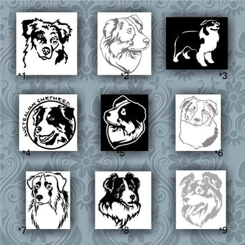 AUSTRALIAN SHEPHERD vinyl decals - 1-9 - vinyl sticker - car window stickers - aussie dog - herding dog - pets - dog decal