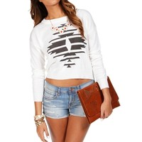 Ivory Long Sleeve Aztec Cropped Sweater