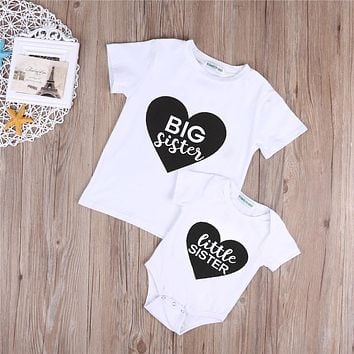 Famliy Matching Clothes Girl Big/Little Sister T-shirt Tops Romper outfits Suit