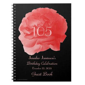 105th Birthday Party Guest Book, Coral Rose Petals Notebook