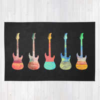 Guitar collection / 2 Area & Throw Rug by Elisabeth Fredriksson | Society6