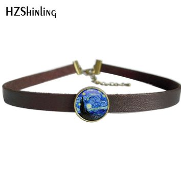 NEW Van Gogh's Painting Pendant The Starry Night by Vincent Jewelry Leather Choker Necklace Gifts Women