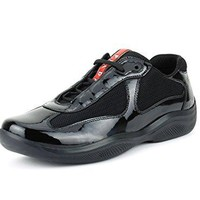 Prada Women's America's Cup Patent Leather Trainer Sneaker, Black (Nero)