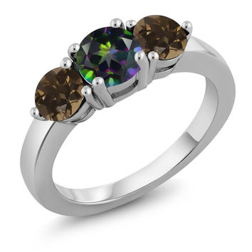 1.92 Ct Round Green Mystic Topaz Brown Smoky Quartz 925 Sterling Silver Ring