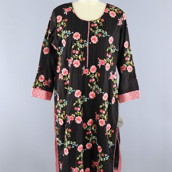Vintage 1970s 1980s Kurta Indian Cotton Dress / Black & Pink Floral Embroidery