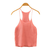 Round-neck Knit Camisole Stylish Sexy Ladies Bottoming Shirt [4919353156]