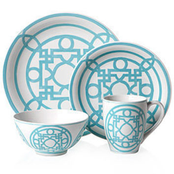 Z Gallerie - Labyrinth Dinnerware Collection - Aquamarine Set of 4