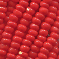 13/0 Lt Red Opaque Charlottes. Czech Seed Beads. 1 Hank.