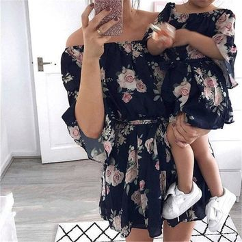 Off The Shoulder Summer Dress Mommy And Baby Girl Matching Outfits