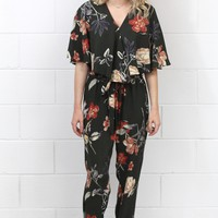 Floral Print Surplice Flutter Sleeve Jumpsuit {Olive Mix} - Size SMALL