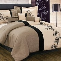 Chezmoi Collection 7 Pieces Soft Microfiber Printed Linen Pattern Embroidery Comforter Set California King