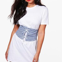 Rebecca Check Lace Up Corset T-Shirt Dress | Boohoo
