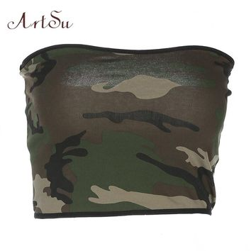 ArtSu Camouflage Army Green Top Women Strapless Elastic Crochet Tube Top Summer Sexy Fashion Casual Streetwear ASVE20091