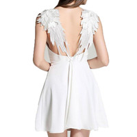 Sling Wings Solid Color Backless Dress