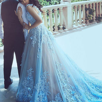 2017 Latest Royal Long Train Wedding Dresses Turquoise Blue Applique And Flower Organza Arabic Bridal Dress WD420