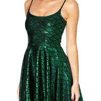 Green Galaxy Dress with Scale Print