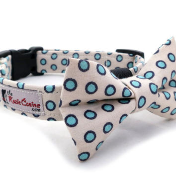 Cream Dog Collar with Turquoise Polka Dots (Dog Collar Only - Matching Bow Tie Available Separately)