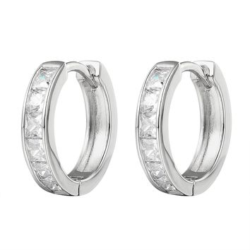 Sterling Silver Princess Cut Stones Small Hoop Earrings