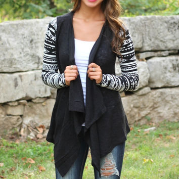Open Drape Front Printed Long Sleeves Cardigan