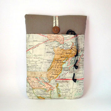 "Map Macbook Air 13 Case, Laptop Sleeve, Mac Book Air 13. 3 "" Bag Tablet Cover Vintage Pacific World Travel Atlas US America Australia Asia"