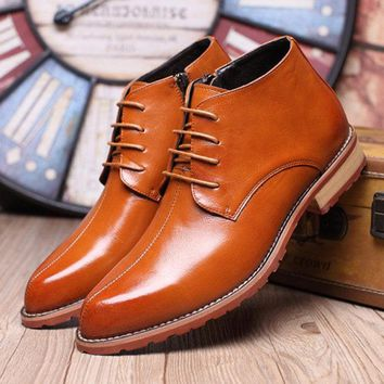 Men Pointed Toe Side Zipper Casual Lace Up Leather Ankle Boots