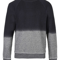 Black Textured Dip Dye Raglan Sweatshirt - Hoodies & Sweatshirts - New In - TOPMAN USA