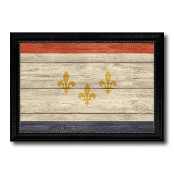 New Orleans  City Louisiana State Texture Flag Canvas Print Black Picture Frame