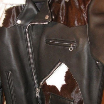 SCHOTT NYC 646 MOTORCYCLE LEATHER STEERHIDES PONY JACKET D POCKETS -MADE IN USA