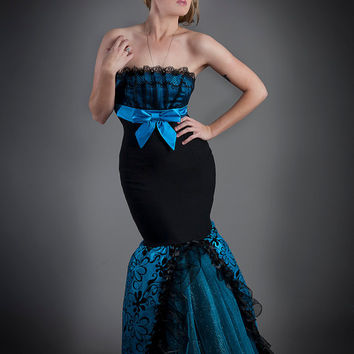 Size small Black and turquoise damask taffeta and lace mermaid style tulle prom dress ready to ship OOAK
