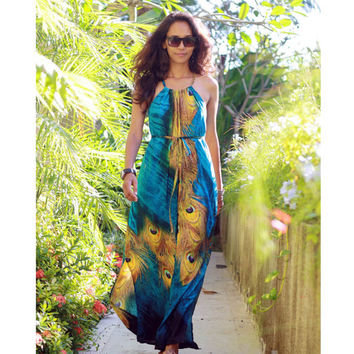 Peacock Maxi Dress / Long Maxi Dress in Blue and Yellow / Women's Maxi Dress / Cut Out Dress / Summer Dress