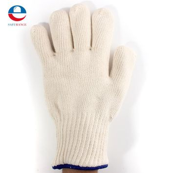 1pcs Thicken Double Cotton 450 Celsius High Quality Super Heat Resistant Anti Burn Heatproof Gloves Oven Kitchen White