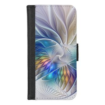 Floral Fantasy, Colorful Abstract Fractal Flower iPhone 8/7 Wallet Case