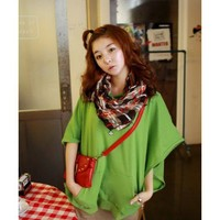 Bat-wing Sleeve Women Apparel New Style Autumn Clothing Loose Hood Casual Green Cotton Tops One Size @GP0015gr $10.89 only in eFexcity.com.