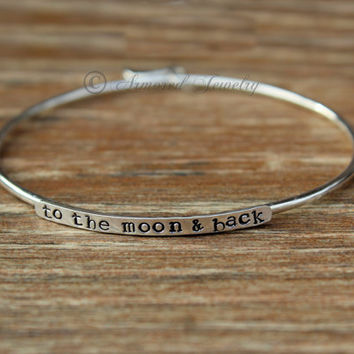 ARMORED STACKERS BANGLE bracelet  - to the moon & back - Sterling Silver Customized Bangle Bracelet - Custom Name Bracelet - Stackers