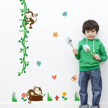 Cartoon Monkeys Tree Birds Butterfly Flower Height Measure Wall Stickers For Kids Rooms Height chart Nursery Bedroom Home Decor