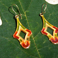 Red & Gold Stained Glass Drop Earrings
