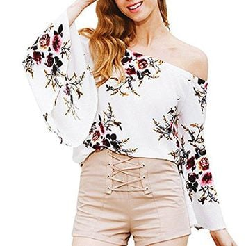 Just Model Womens Sexy Floral Off The Shoulder Bell Sleeve Chiffon Blouse Casual Shirt Tops