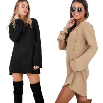 Lace up knitted mini dress with long sleeves