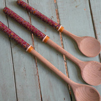 Wooden Spoon, Set of 3, One of a Kind, Kitchen Utensils