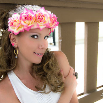 Pink Cream Rose Flower Crown, Flower Headband, Bridal Crown, Bridesmaid Dress, Coachella Crown, Burning Man, Bonnaroo, Wanderlust, PLUR
