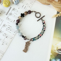 Music Score Charm Bracelet with Tourmaline and Aquamarine Stone Beads, August Rush Inspired Jewelry