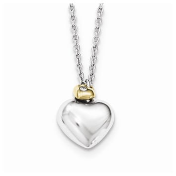 Sterling Silver White Ice Diamond Gold-plated Double Heart W/2in Ext Necklace