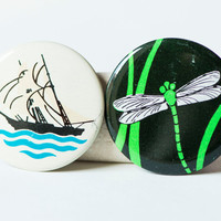 Summer badges, set 2 kids buttons, dragonfly pin, sailboat vintage badge, black green white buttons Soviet time accessories