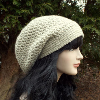 Oatmeal Slouch Beanie - Womens Slouchy Crochet Hat - Ladies Oversized Cap - Beige Baggy Beanie - Chunky Hat