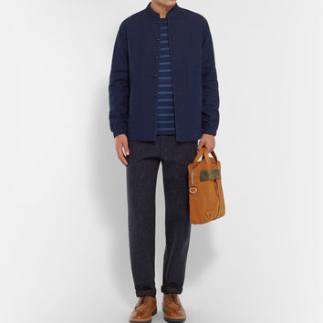 Folk - Grandad-Collar Cotton-Chambray Overshirt | MR PORTER