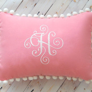 Pink Pillow, Monogram Pillow Pom Pom Trim, Personalized Pillow, Baby Girl Nursery, Solid Color Pillow, Baby Pink Pillow, Pom Pom Pillow