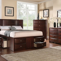 Poundex F9233Q-4PC 4 pc Nathaniel espresso finish wood captains bed with drawers queen bed set