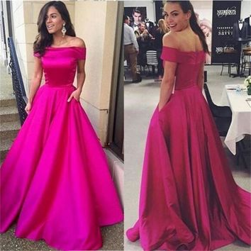 Off Shoulder Long Prom Dresses A-line Simple Cheap Party Cocktail Evening dress Online Graduation Dress V5680