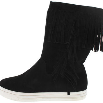 ARRANGE BLACK FRINGE SNEAKER BOOT