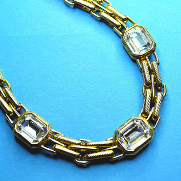 SWAROVSKI Vintage Thick Gold Textured Double Link Choker Necklace with Large Emerald Cut Clear Crystals, Swan Mark #E123